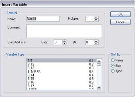 "variable • Select variable type ""BIT"" and click [OK] Figure 16: Variable type • Create a"