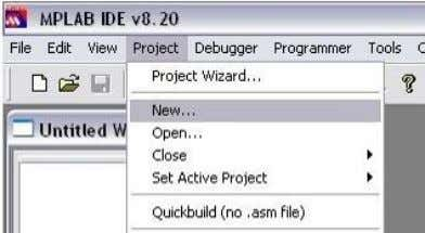 Open the MPLAB and click [Project] [New…] in menu bar. • Figure 23: Create a new