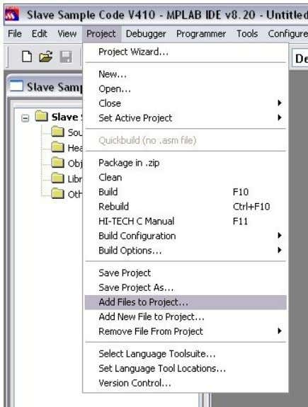 Figure 26: Add source files • Select all *.c and *.h files except of mcihw.c