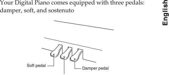 Your Digital Piano comes equipped with three pedals: damper, soft, and sostenuto Soft pedal Damper pedal