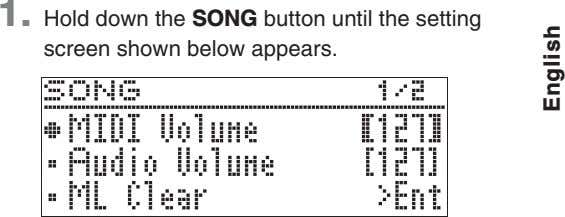 1. Hold down the SONG button until the setting screen shown below appears. English