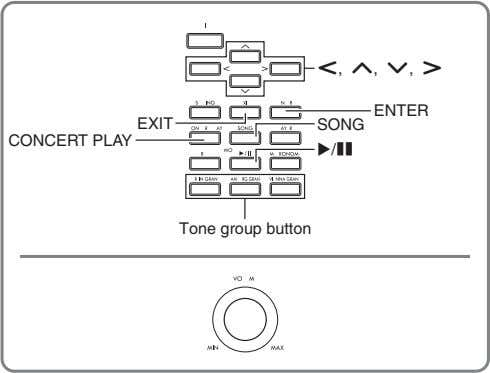 u, q, w, i ENTER EXIT SONG CONCERT PLAY /k Tone group button