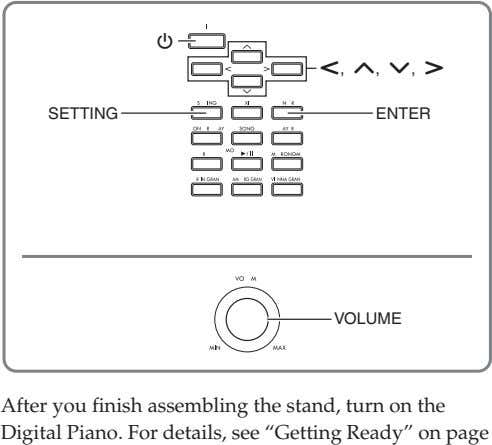 P u, q, w, i SETTING ENTER VOLUME After you finish assembling the stand, turn on