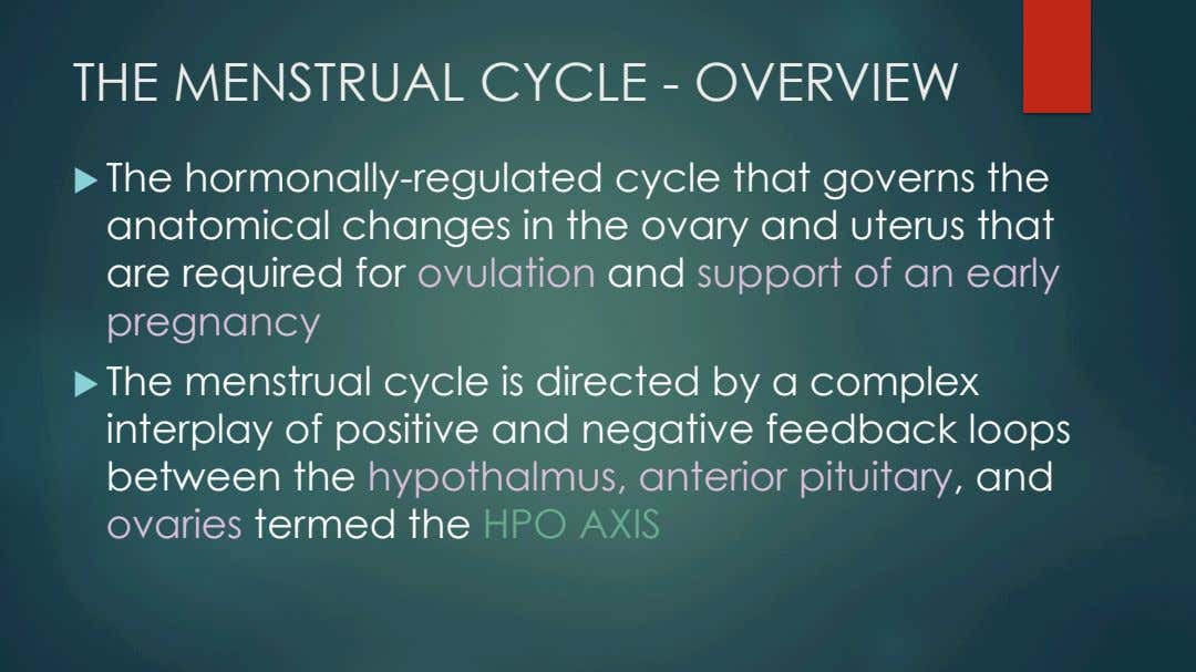 THE MENSTRUAL CYCLE - OVERVIEW u   The hormonally-regulated cycle that governs the anatomical changes