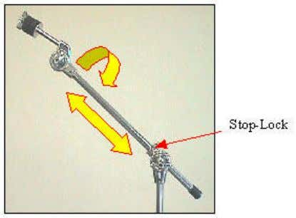 Adjust the angle of the cymbal tilter to your preference. Many sets include a boom cymbal