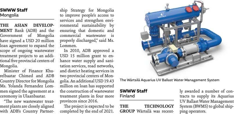 SWWW Staff Mongolia THE ASIAN DEVELOP- MENT Bank (ADB) and the Government of Mongolia have