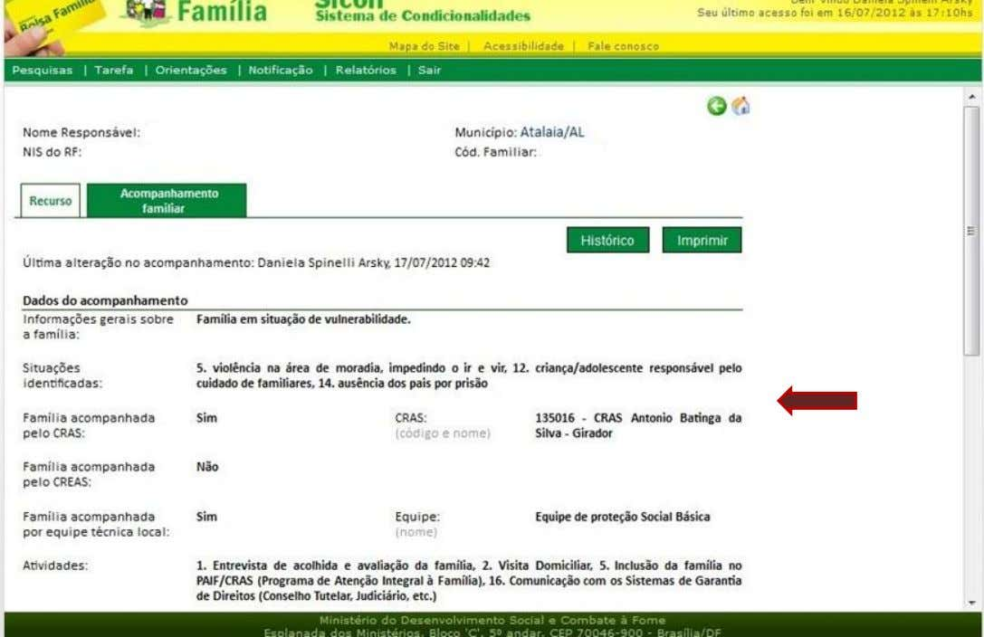 Registro do acompanhamento familiar