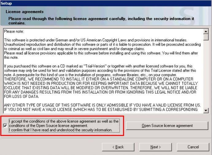 "7. Accept the setup agreements. Click ""Next"". Figure 2-2 Installing and Commissioning of PH/IS V 1.2,"