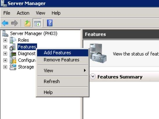 "Choose ""Add Features"" from the context menu. Figure 3-2 Installing and Commissioning of PH/IS V 1.2,"