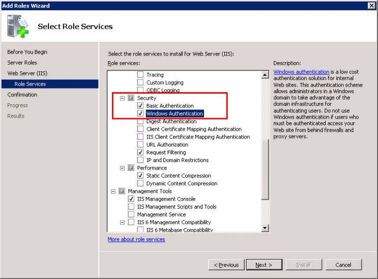 "Basic Authentication Windows Authentication Figure 3-7 11. Click on the ""Next"" button. 12. Click on the"