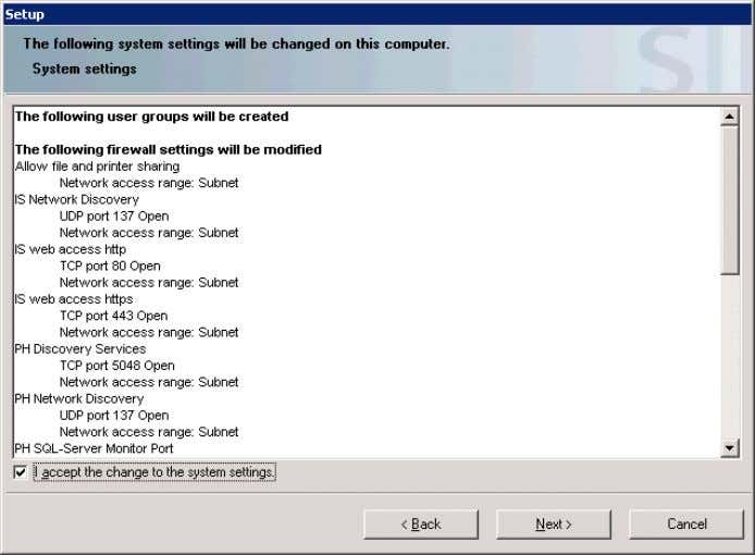 "to the system settings and click ""Next"". Figure 3-20 Installing and Commissioning of PH/IS V 1.2,"