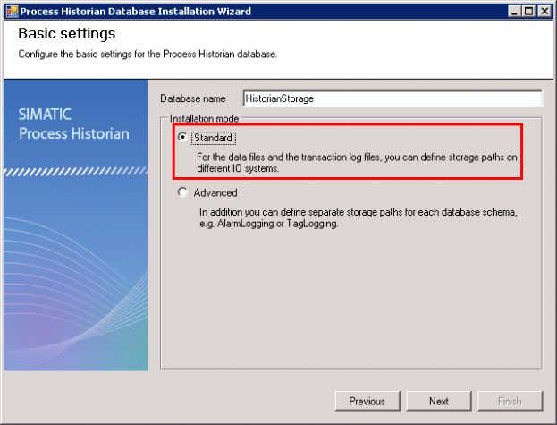 "name HistorianStorage. Click on ""Next"". Figure 3-27 Installing and Commissioning of PH/IS V 1.2, Item-ID:"