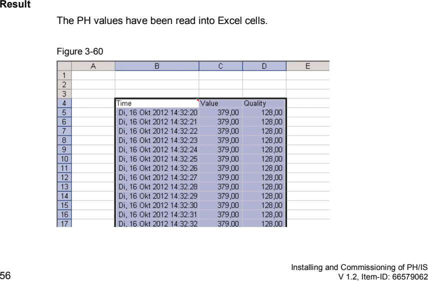 Result The PH values have been read into Excel cells. Figure 3-60 56 Installing and