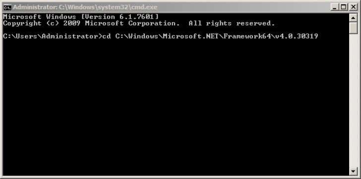 DOS box and change to DotNetFramework directory. Figure 3-76 Run the command 'aspnet_regiis.exe -i' and press