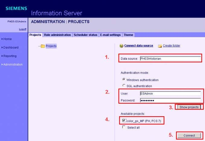 "available projects. 8. Click on ""Connect"". Figure 4-6 72 Installing and Commissioning of PH/IS V 1.2,"