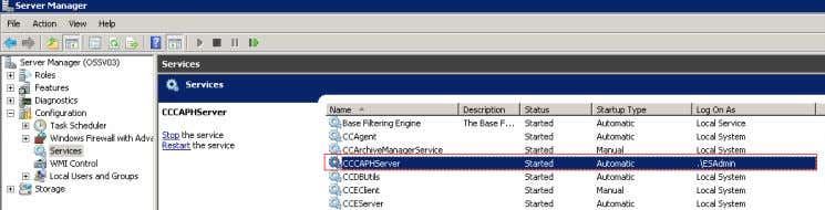CCCAPHServer Service has been started on the OS. Figure 5-3 3. The Service CCCAPHServer Service must