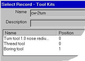 listing the tools already saved to the default tool kit: 2. Select the appropriate tool. 3.