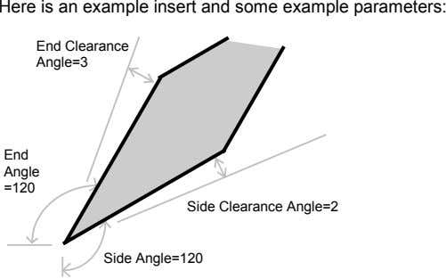 Here is an example insert and some example parameters: End Clearance Angle=3 End Angle =120