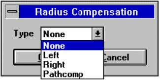 using the Radius Compensation (Tooling menu) command: Pathcomp Turning Centres are usually limited to simple forms