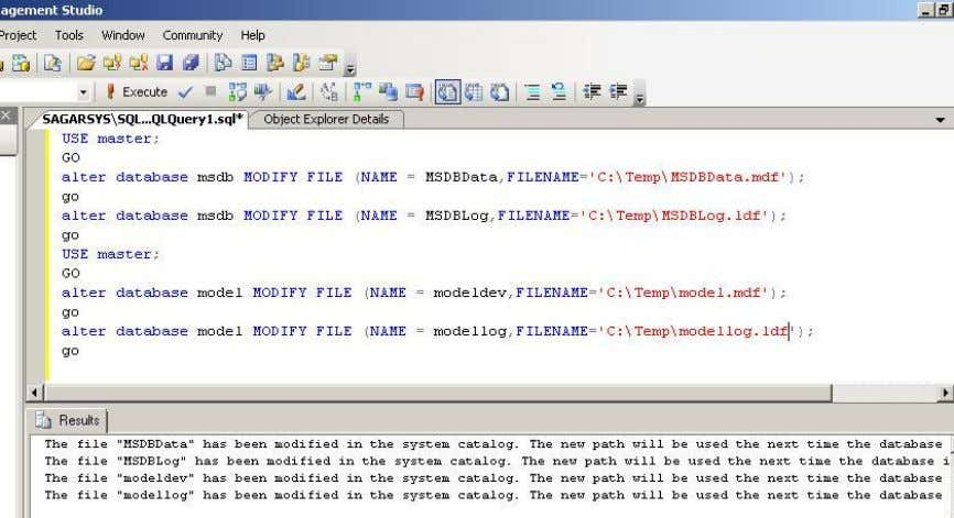 (NAME = modellog,FILENAME='NEW PATH'); go Example b.) Stop services c.) Copy the files to the new