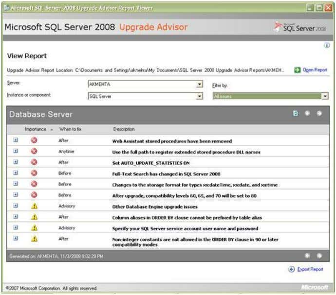 ‖. Documents\SQL Server 2008 Upgrade Advisor From the Instance or component dropdownlist you can choose