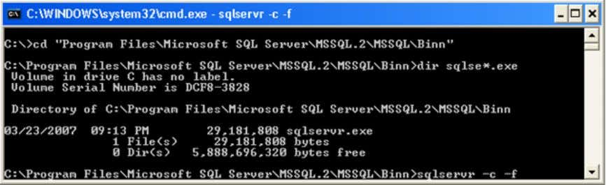 which will start SQL Server in minimal configuration mode. NOTE: Do not use any other startup