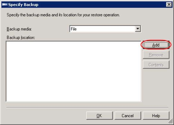 5. On Specify Backup , ensure that Backup media is ―File‖ and click Add. 94 |
