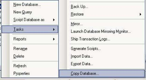 on Tasks from the select Copy database wizard as shown below  Once opened you can