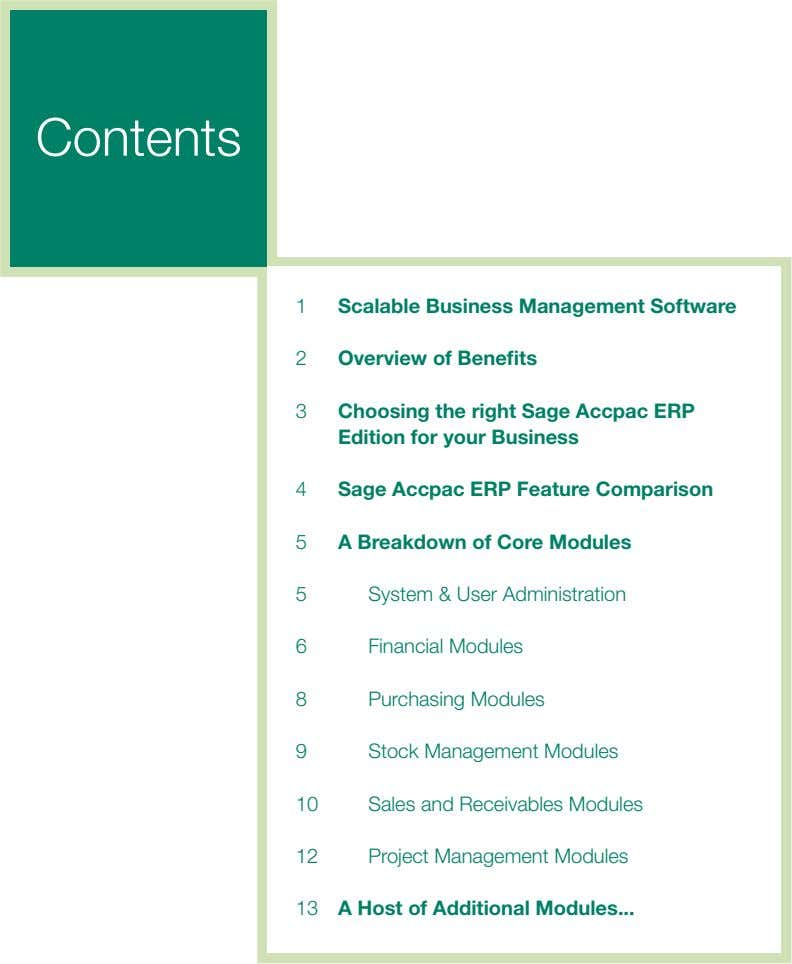 Contents 1 Scalable Business Management Software 2 Overview of Benefits 3 Choosing the right Sage