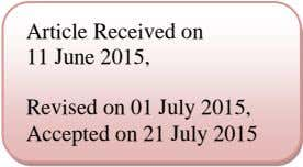 Article Received on 11 June 2015, Revised on 01 July 2015, Accepted on 21 July