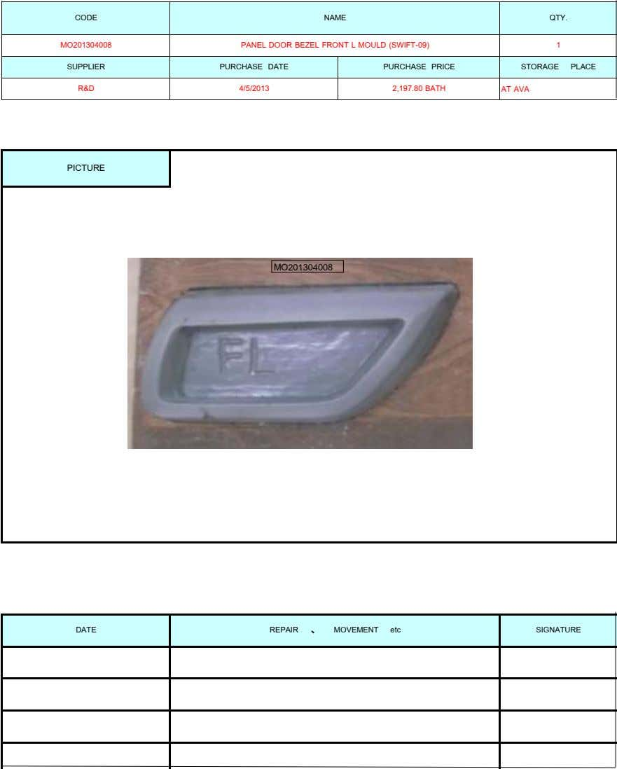 CODE NAME QTY. MO201304008 PANEL DOOR BEZEL FRONT L MOULD (SWIFT-09) 1 SUPPLIER PURCHASE DATE PURCHASE