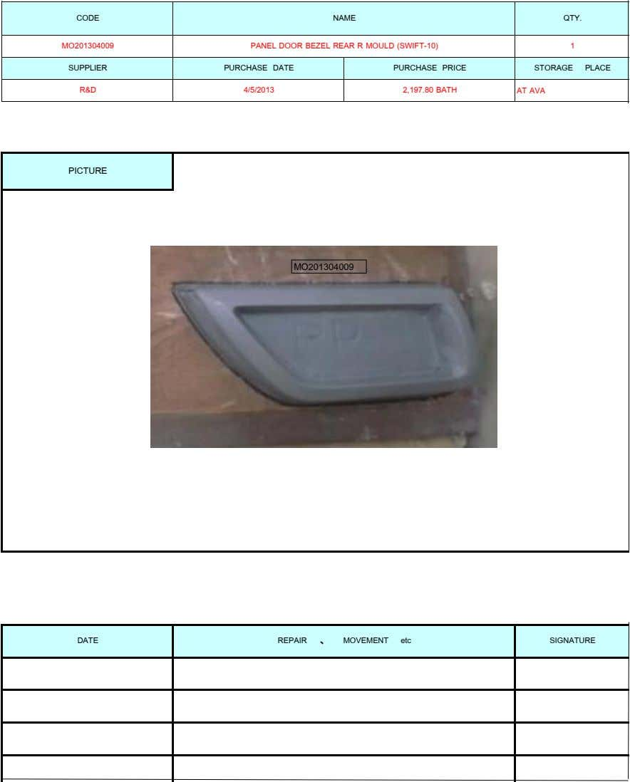 CODE NAME QTY. MO201304009 PANEL DOOR BEZEL REAR R MOULD (SWIFT-10) 1 SUPPLIER PURCHASE DATE PURCHASE