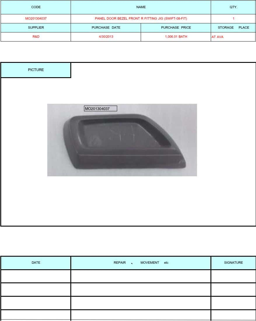 CODE NAME QTY. MO201304037 PANEL DOOR BEZEL FRONT R FITTING JIG (SWIFT-08-FIT) 1 SUPPLIER PURCHASE DATE