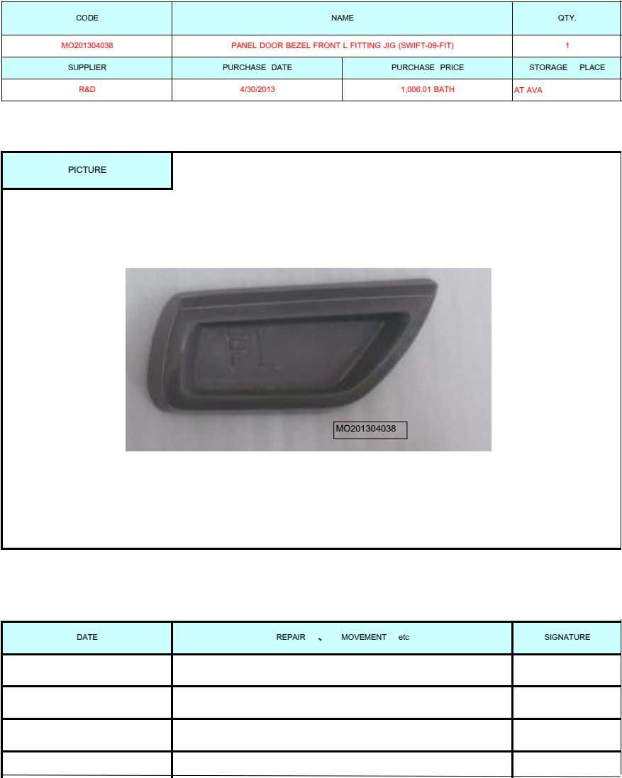 CODE NAME QTY. MO201304038 PANEL DOOR BEZEL FRONT L FITTING JIG (SWIFT-09-FIT) 1 SUPPLIER PURCHASE DATE