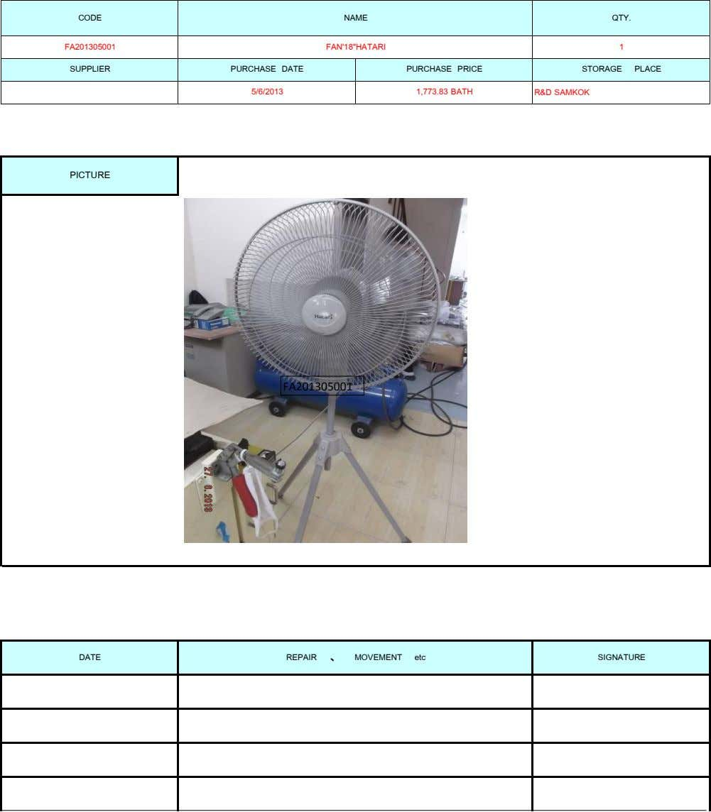 "CODE NAME QTY. FA201305001 FAN'18""HATARI 1 SUPPLIER PURCHASE DATE PURCHASE PRICE 5/6/2013 1,773.83 BATH STORAGE PLACE R&D"