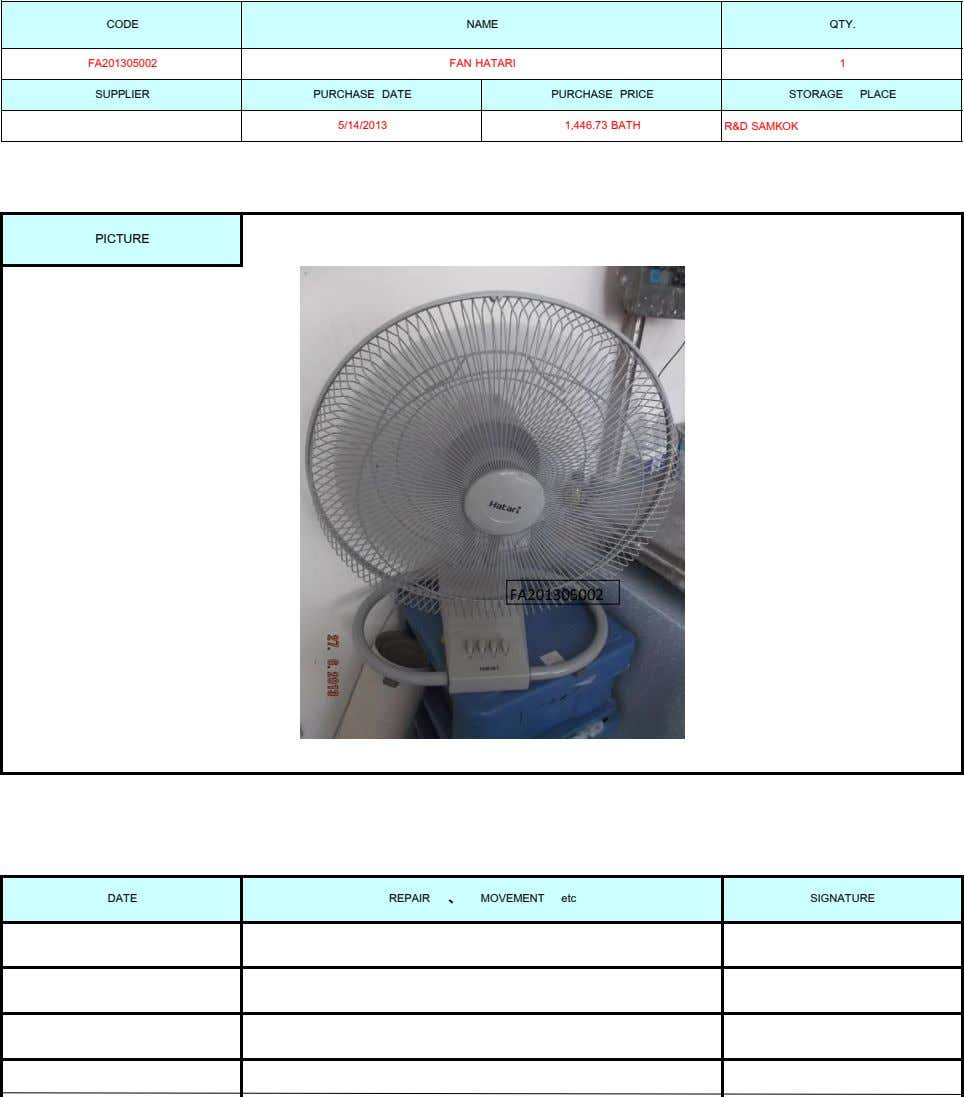 CODE NAME QTY. FA201305002 FAN HATARI 1 SUPPLIER PURCHASE DATE PURCHASE PRICE 5/14/2013 1,446.73 BATH STORAGE PLACE