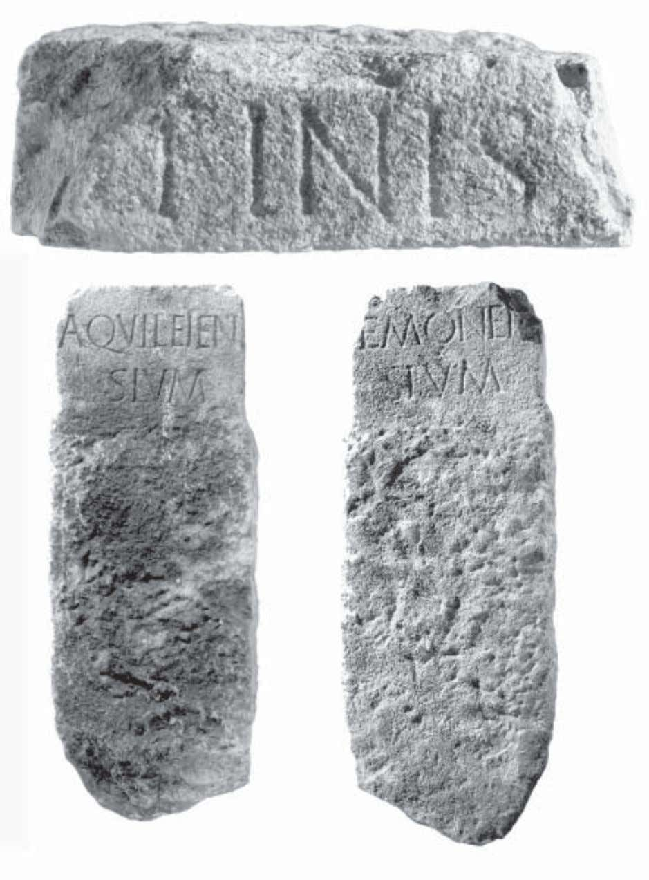 The boundary stone between Aquileia and Emona 375 Fig. 2: The inscriptions on the boundary stone