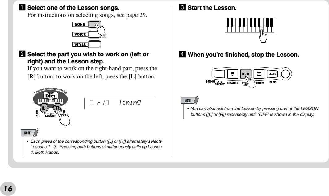z Select one of the Lesson songs. For instructions on selecting songs, see page 29.