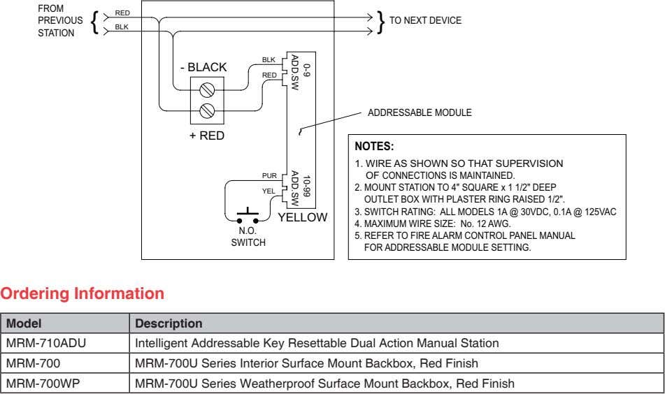 FROM } RED PREVIOUS TO NEXT DEVICE BLK STATION BLK - BLACK RED ADDRESSABLE MODULE