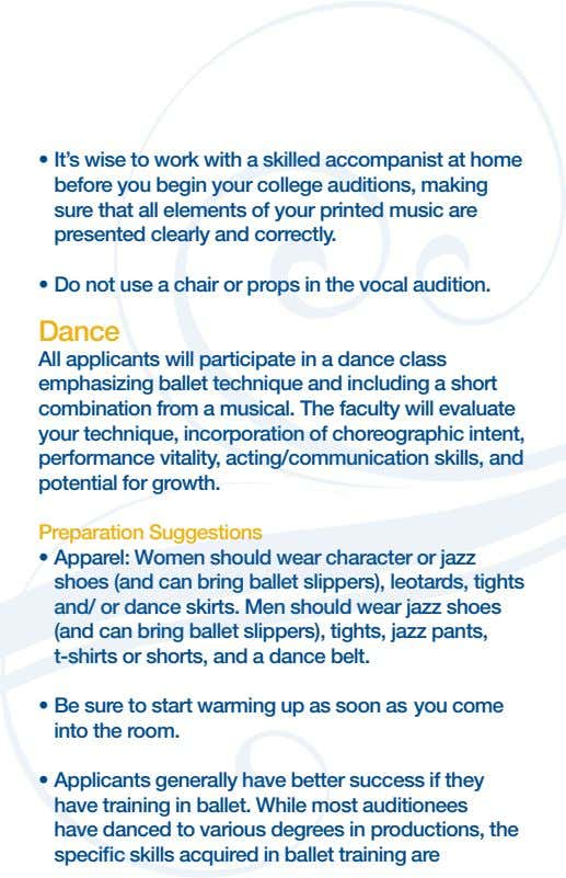 before you begin your college auditions, making sure that all elements of your printed music