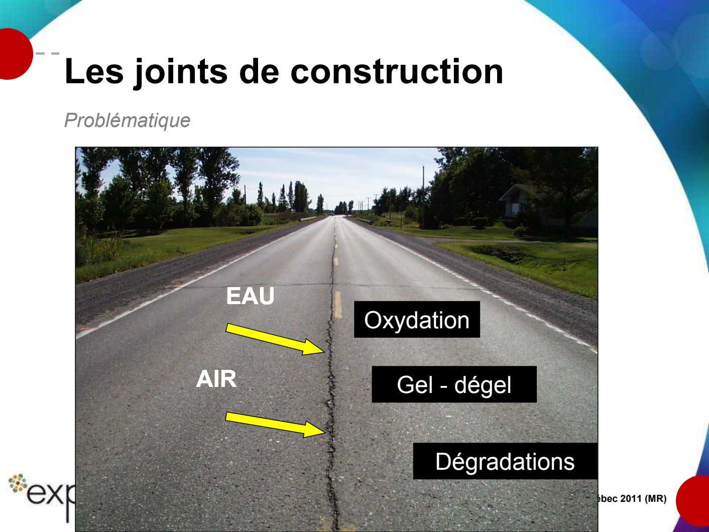 Les joints de construction Problématique EAUEAU Oxydation AIRAIR Gel - dégel Dégradations Formation technique