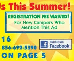 REGISTRATION FEE WAIVED! For New Campers Who Mention This Ad