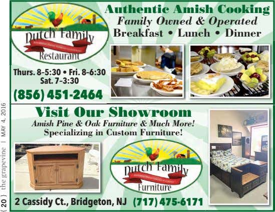 Authentic Amish Cooking Family Owned & Operated Breakfast • Lunch • Dinner Thurs. 8–5:30 •