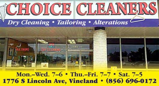 Dry Cleaning • Tailoring • Alterations Mon.–Wed. 7–6 • Thu.–Fri. 7–7 • Sat. 7–5 1776