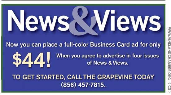 WWW.VINELANDCHAMBER.ORG { C3 } News Views & Now you can place a full-color Business Card