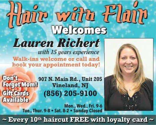 WelcomesWelcomes Lauren Richert with 15 years experience Walk-ins welcome or call and book your appointment