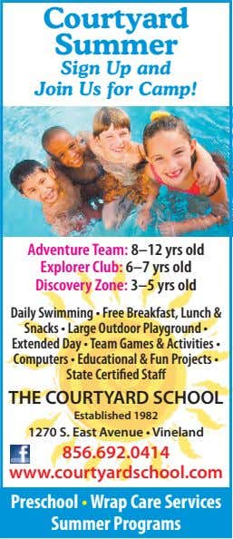 Courtyard Summer Sign Up and Join Us for Camp! Adventure Team: 8–12 yrs old Explorer