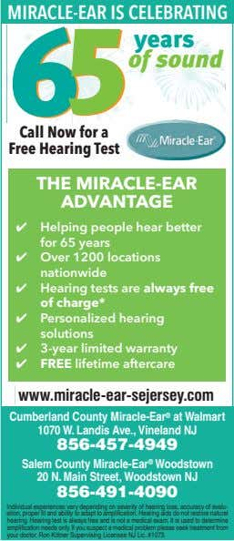 MIRACLE-EAR IS CELEBRATING years of sound Call Now for a Free Hearing Test THE MIRACLE-EAR