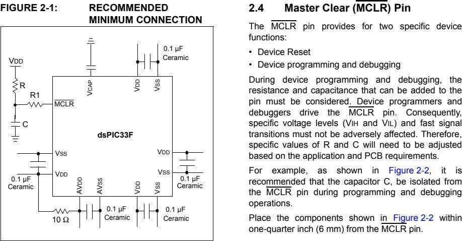 FIGURE 2-1: RECOMMENDED MINIMUM CONNECTION 2.4 Master Clear (MCLR) Pin The MCLR pin provides for