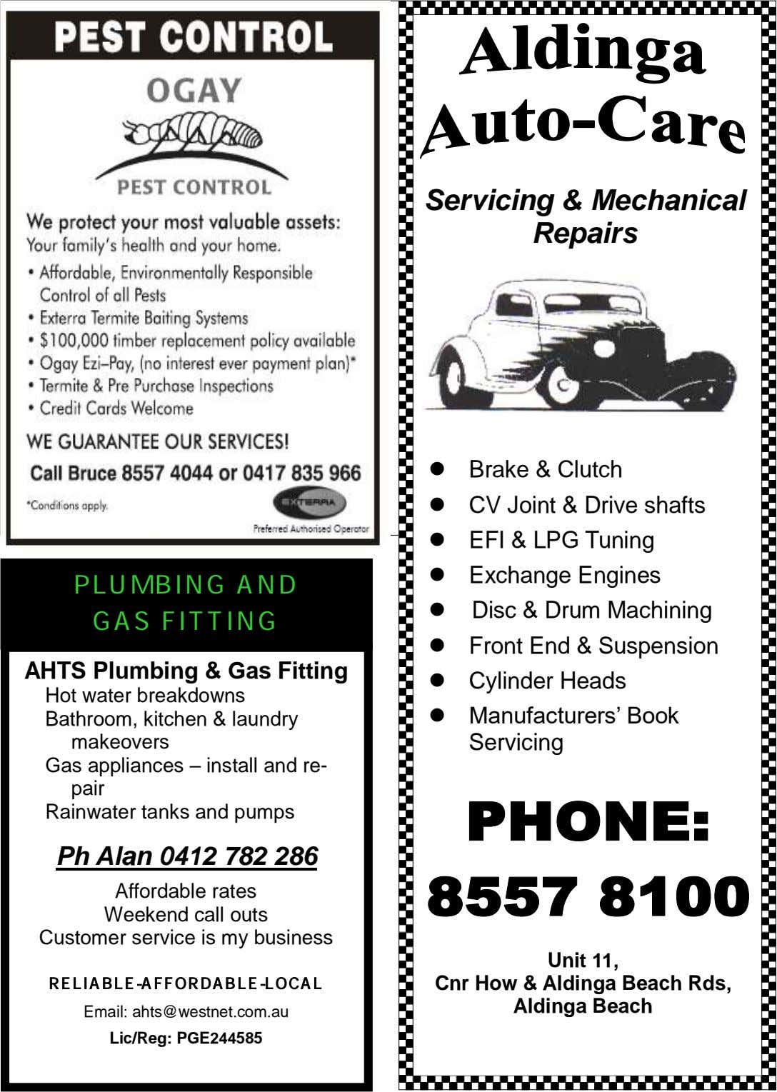 Servicing & Mechanical Repairs  Brake & Clutch  CV Joint & Drive shafts 